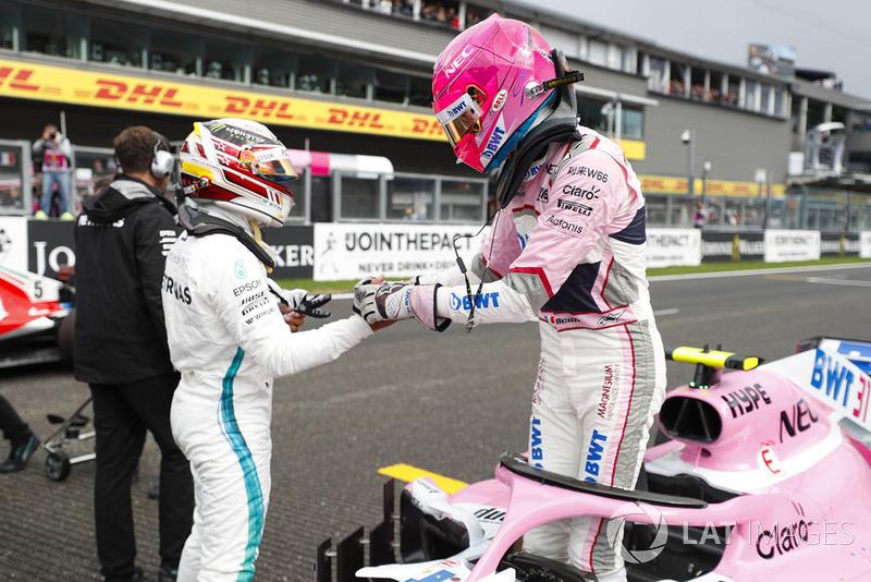 Esteban Ocon, Racing Point Force India, Lewis Hamilton, Mercedes AMG F1