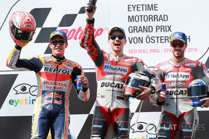 Podium: second place Marc Marquez, Repsol Honda Team, winner Jorge Lorenzo, Ducati Team, third place Andrea Dovizioso, Ducati Team