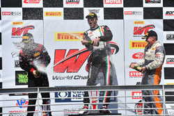 Podium GTA: winner Martin Fuentes, Scuderia Corsa, second place Michael Schein, Wright Motorsports, third place Drew Regitz, Stephen Cameron Racing