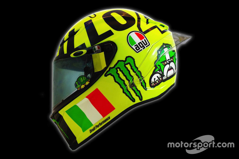 Neuer Helm von  Valentino Rossi, Yamaha Factory Racing
