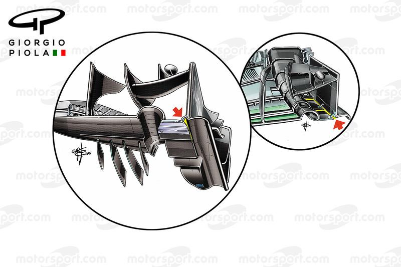 مقارنة بين الجناح الأمامي لسيارة مكلارين إم.بي4-31 ومرسيدس دبليو07 فى سباق الولايات المتحدة