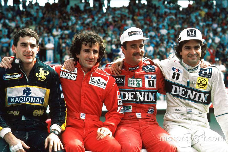 Борьба Сенны, Проста, Мэнселла и Пике, выигравших суммарно 11 титулов, стала украшением Формулы 1. А ведь в пелотоне были еще Бергер, Росберг, Альборето и многие другие быстрые пилоты