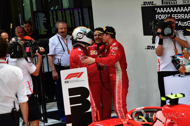 Sebastian Vettel, Ferrari and Kimi Raikkonen, Ferrari in parc ferme