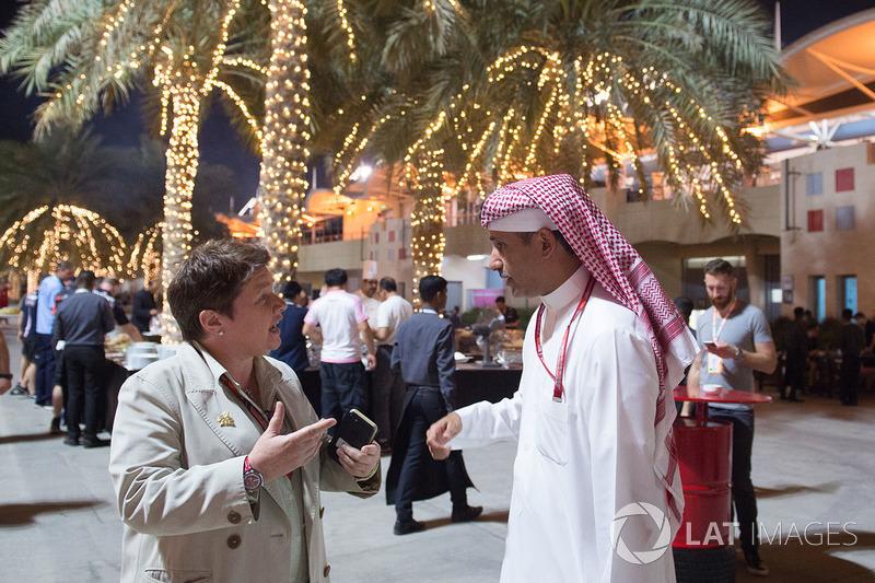 Shaikh Salman bin Isa Al Khalifa, Chief Executive of Bahrain International Circuit with Kate Beavan, FOM
