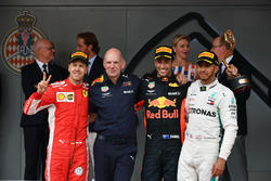 Second place Sebastian Vettel, Ferrari, Adrian Newey, Red Bull Racing, Race winner Daniel Ricciardo, Red Bull Racing, third place Lewis Hamilton, Mercedes-AMG F1 celebrate on the podium