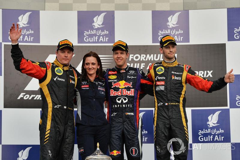 2013: 1. Sebastian Vettel, 2. Kimi Raikkonen, 3. Romain Grosjean