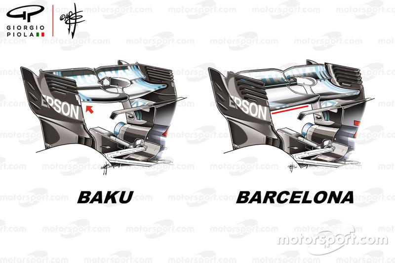 Mercedes F1 W09, hátsó szárny, Azerbajdzsán GP és Spanyol GP