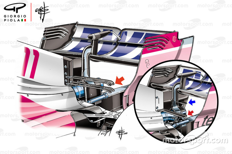 Force India VJM11 high downforce rear wing comparison