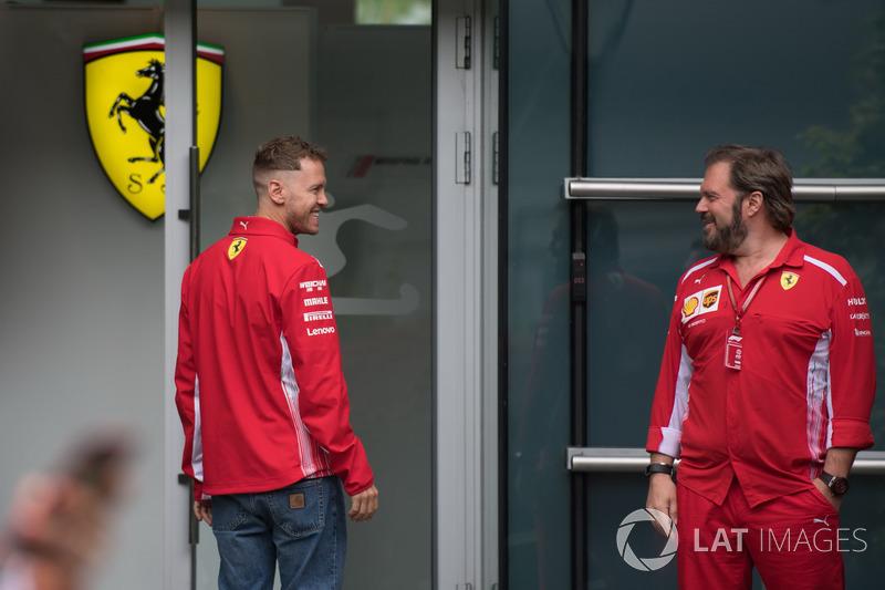 Sebastian Vettel, Ferrari and Gino Rosato, Ferrari
