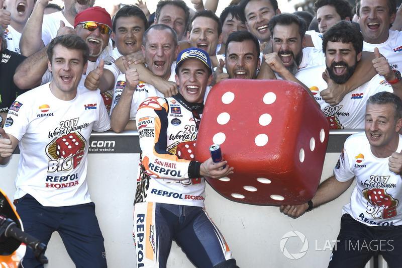 World champion Marc Marquez, Repsol Honda Team celebrate