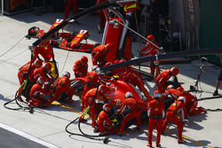 Kimi Raikkonen, Ferrari SF71H, makes a stop