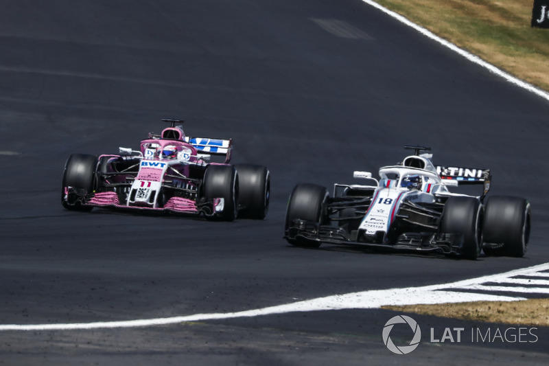 Sergio Perez, Force India VJM11 y Lance Stroll, Williams FW41