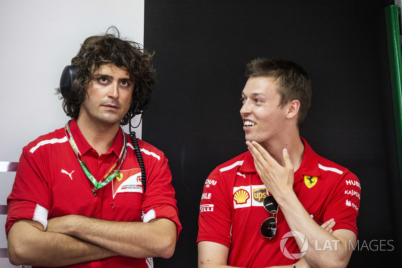 Daniil Kvyat, Ferrari and Marco Matassa, Ferrari Engineer