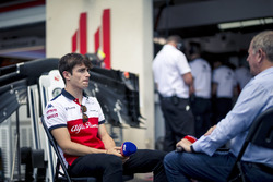 Charles Leclerc, Sauber talks with Martin Brundle, Sky TV