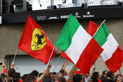 Ferrari and Itallian podium flags