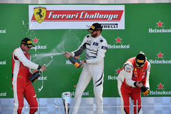Mark Fuller, Scuderia Corsa - Ferrari Westlake, Michael Fassbender, Ferrari North America and James Weiland, Boardwalk Ferrari  celebrate on the podium