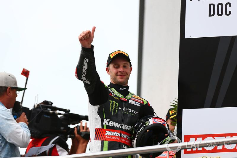 Podio: il secondo classificato Jonathan Rea, Kawasaki Racing