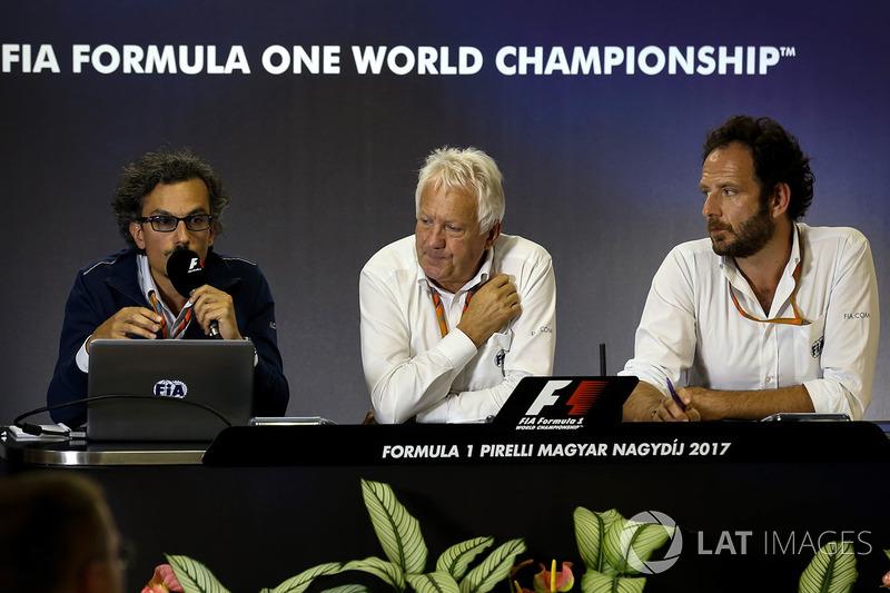 Laurent Mekies, FIA Safety Director, Charlie Whiting, FIA Delegate and Matteo Bonciani, FIA Media De