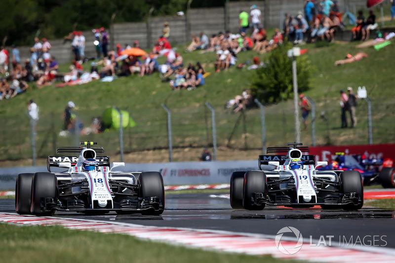 Lance Stroll, Williams FW40 y Felipe Massa, Williams FW40