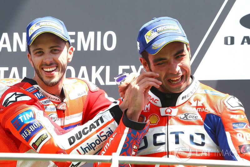 Podium: Race winner Andrea Dovizioso, Ducati Team, hird place Danilo Petrucci, Pramac Racing