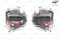 McLaren MP4-23 asymmetric sidepod layout, right hand sidepod inlet reduced in size to optimise drag/