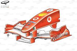 Ferrari F2005 nose design, United States GP