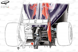Toro Rosso STR9 rear end detail, focus on lower support wing (arrowed)