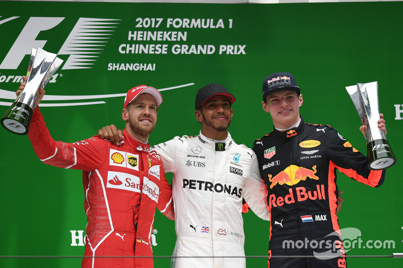 Podium: second place Sebastian Vettel, Ferrari, Race winner Lewis Hamilton, Mercedes AMG F1, third place Max Verstappen, Red Bull Racing