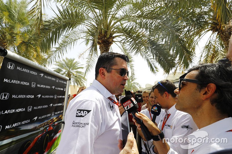 Eric Boullier, Racing Director, McLaren, talks to the media