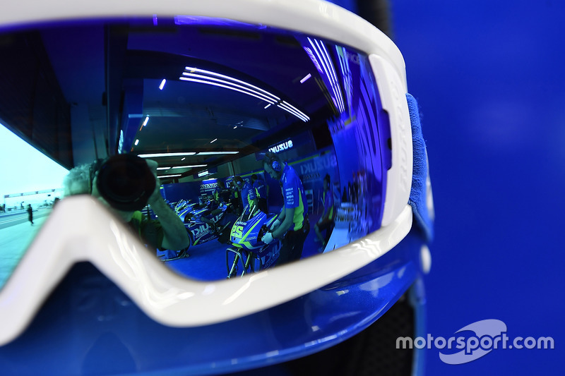 Reflection of Andrea Iannone, Team Suzuki MotoGP's bike