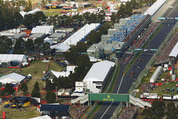 An aerial view of the start