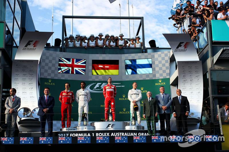 Podium: 1. Sebastian Vettel, Ferrari; 2. Lewis Hamilton, Mercedes AMG F1; 3. Valtteri Bottas, Mercedes AMG F1
