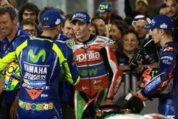 Race winner Maverick Viñales, Yamaha Factory Racing, third place Valentino Rossi, Yamaha Factory Racing,Aleix Espargaro, Aprilia Racing Team Gresini