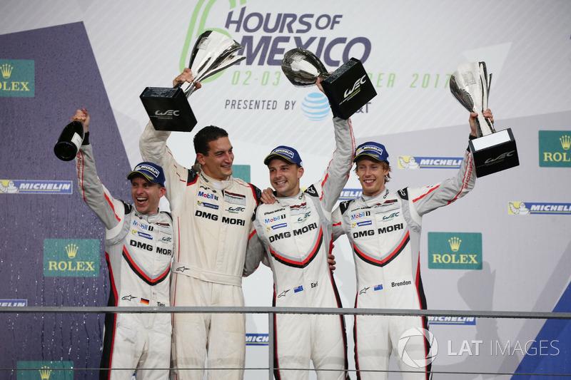 No WEC, o carro #2 da Porsche com o trio Timo Bernhard, Earl Bamber, Brendon Hartley venceu as 6 Horas do México, pela LMP1.