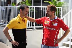 Sebastian Vettel, Ferrari and Remi Taffin, Head of Renault Sport F1 Track Operations