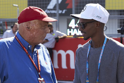 Niki Lauda, Non-Executive Chairman, Mercedes AMG F1, with Olympic champion Sir Mo Farah