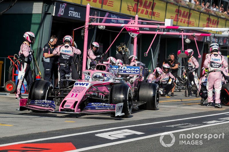 Lance Stroll, Racing Point RP19 pit stop