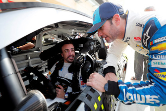 Fernando Alonso in the NASCAR and Jimmie Johnson