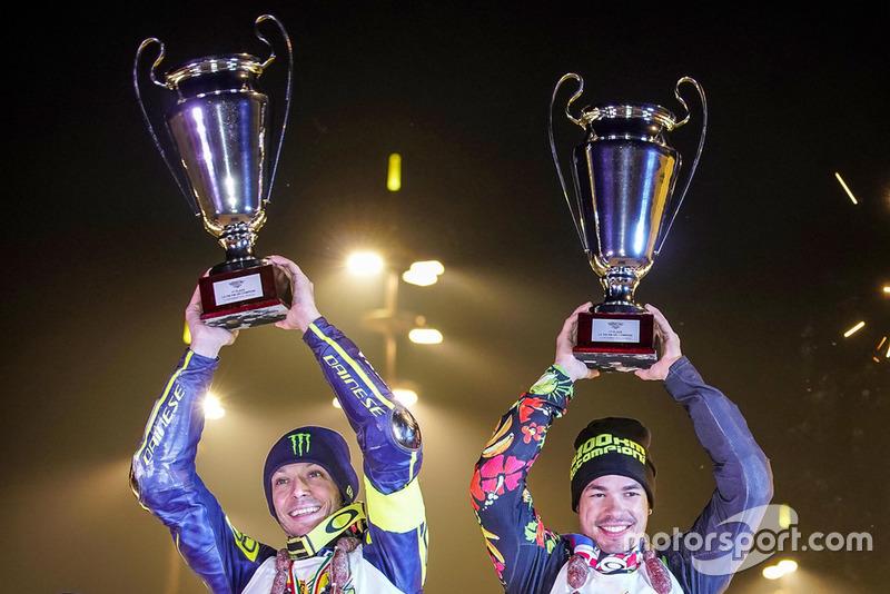 Valentino Rossi and Franco Morbidelli at the podium