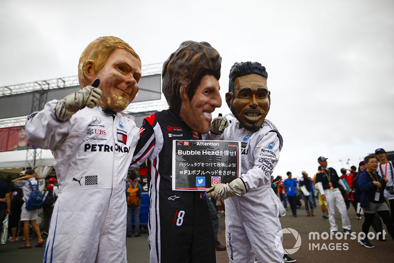 Caricaturas de Bubble Head de Valtteri Bottas, Mercedes AMG F1, Romain Grosjean, Haas F1 Team y Lewis Hamilton, Mercedes AMG F1