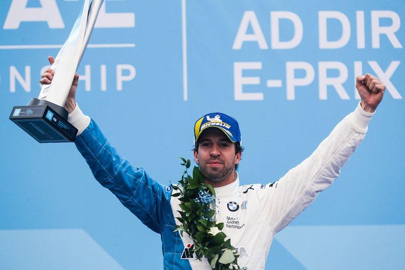 Antonio Felix da Costa, BMW I Andretti Motorsports, festeggia la vittoria sul podio