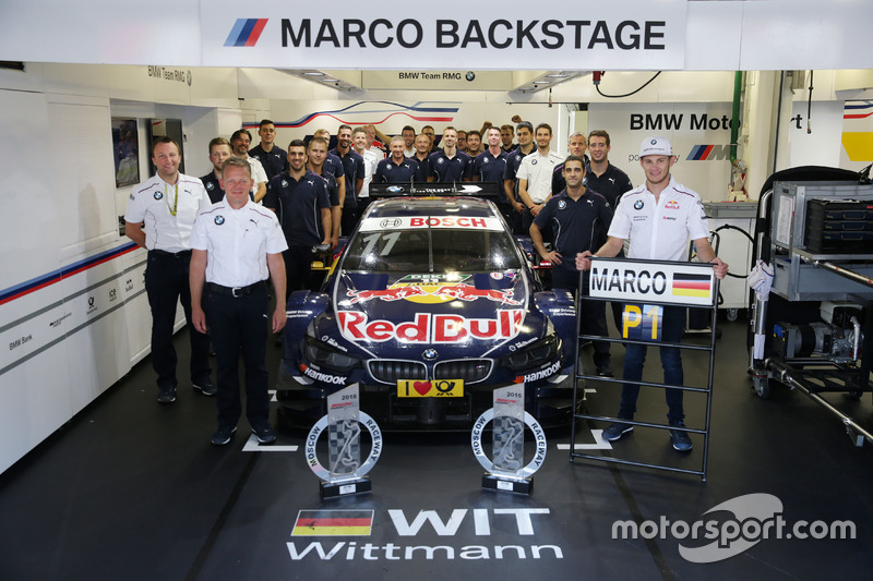 Marco Wittmann, BMW Team RMG, BMW M4 DTM celebrate with the team