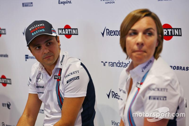 (L to R): Felipe Massa, Williams and Claire Williams, Williams Deputy Team Principal. Felipe announc