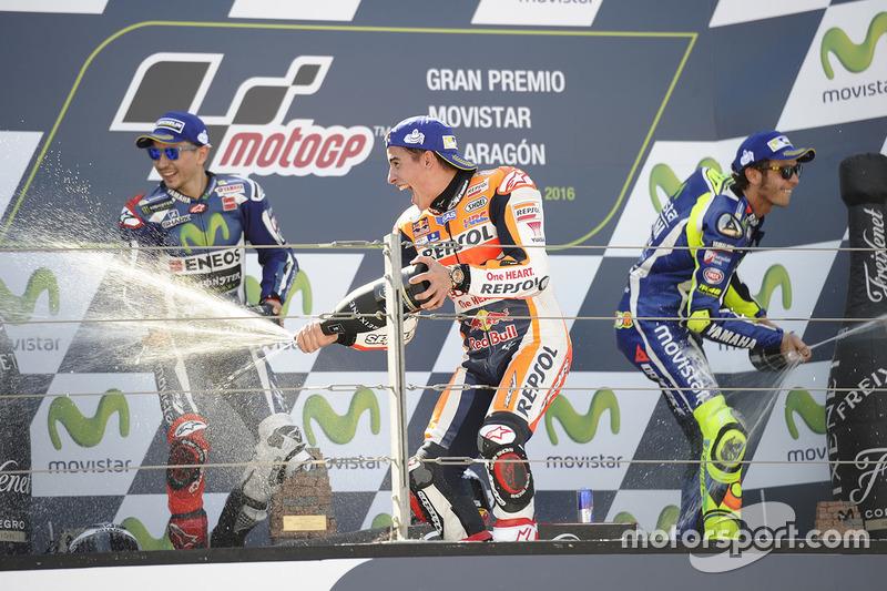 Podio 1º Marc Márquez, 2º Jorge Lorenzo, 3º Valentino Rossi