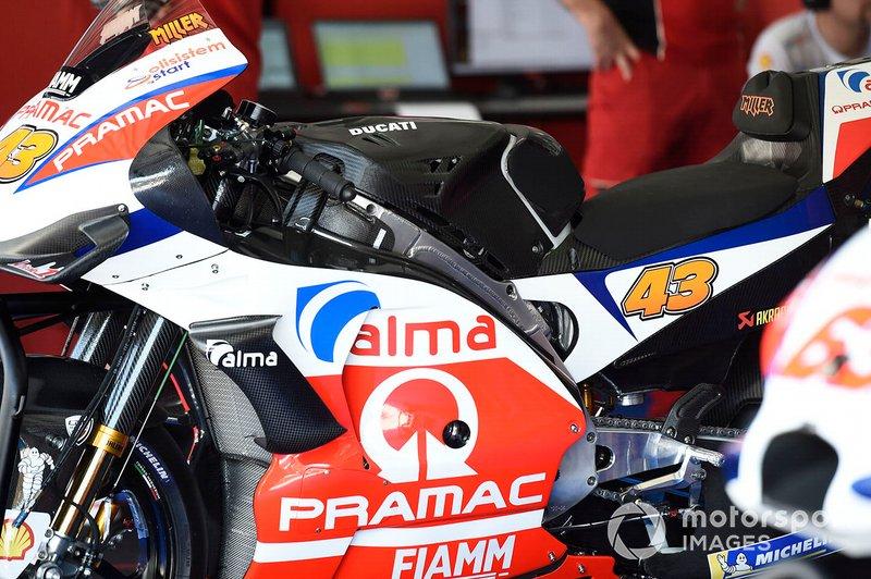 Dettaglio della moto del Team Pramac Racing