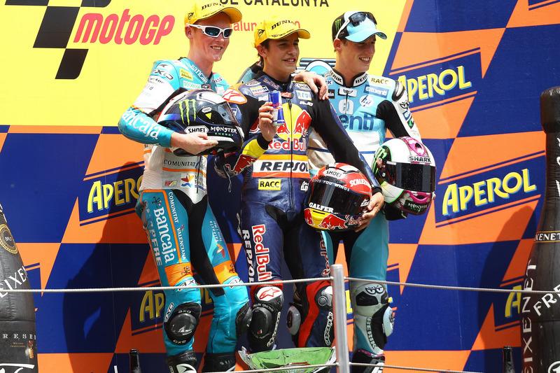 Podium : 1er Marc Márquez, 2e Bradley Smith, 3e Pol Espargaró