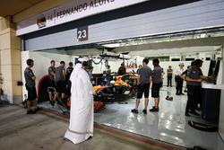 Sheikh Mohammed bin Essa Al Khalifa outside the McLaren garage