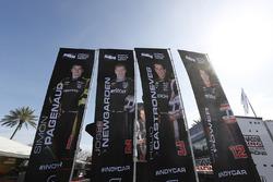 Banners of Simon Pagenaud, Team Penske Chevrolet, Josef Newgarden, Team Penske Chevrolet, Helio Castroneves, Team Penske Chevrolet and Will Power, Team Penske Chevrolet