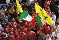 Ferrari celebrate on parc ferme