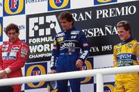 Podio: ganador de la carrera Alain Prost, Williams, segundo lugar Ayrton Senna, McLaren y tercer lugar Michael Schumacher, Benetton